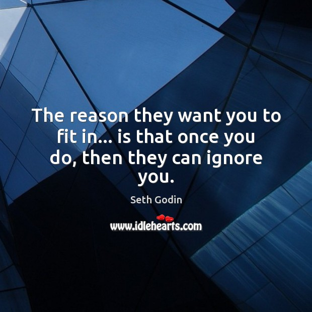 The reason they want you to fit in… is that once you do, then they can ignore you. Seth Godin Picture Quote