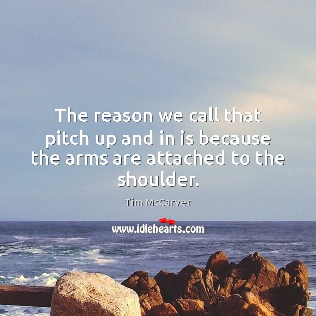 The reason we call that pitch up and in is because the arms are attached to the shoulder. Image