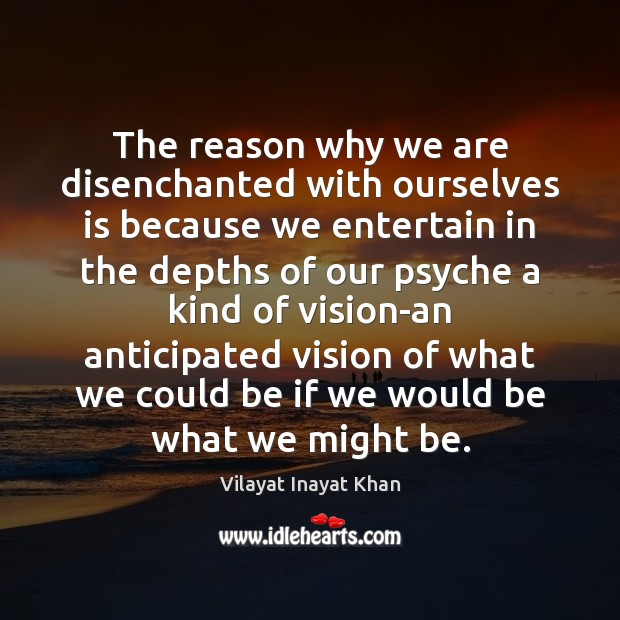 Image, The reason why we are disenchanted with ourselves is because we entertain
