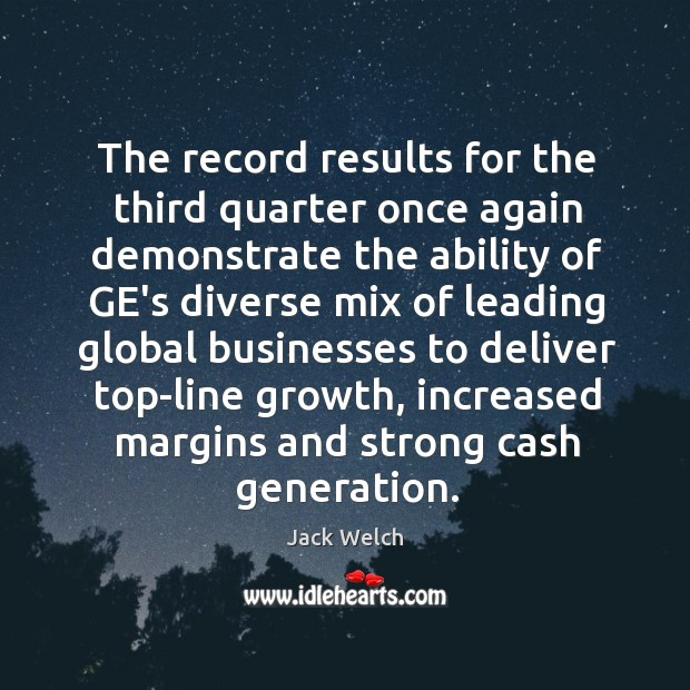 The record results for the third quarter once again demonstrate the ability Image