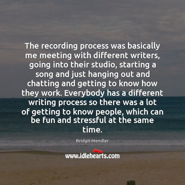 Image, The recording process was basically me meeting with different writers, going into