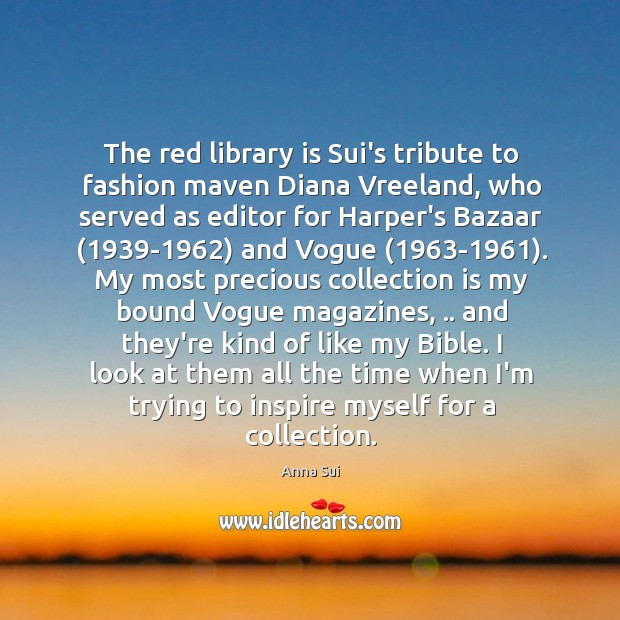 Image, The red library is Sui's tribute to fashion maven Diana Vreeland, who