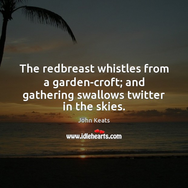 The redbreast whistles from a garden-croft; and gathering swallows twitter in the skies. Image