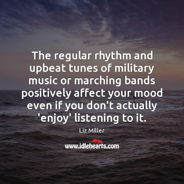 The regular rhythm and upbeat tunes of military music or marching bands Image