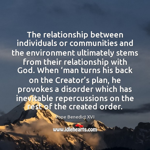 The relationship between individuals or communities and the environment ultimately stems from Plan Quotes Image