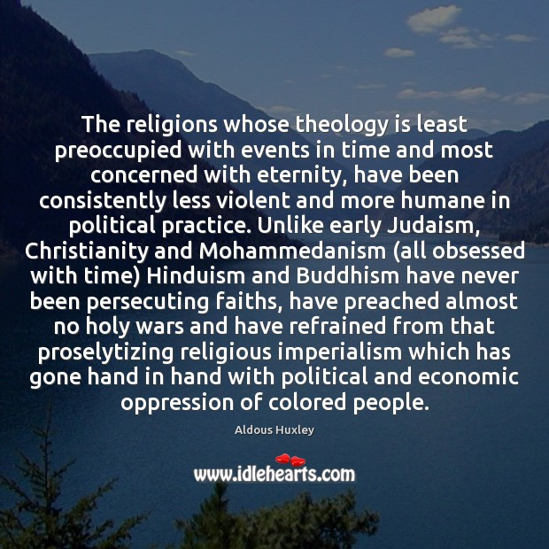 Image, The religions whose theology is least preoccupied with events in time and
