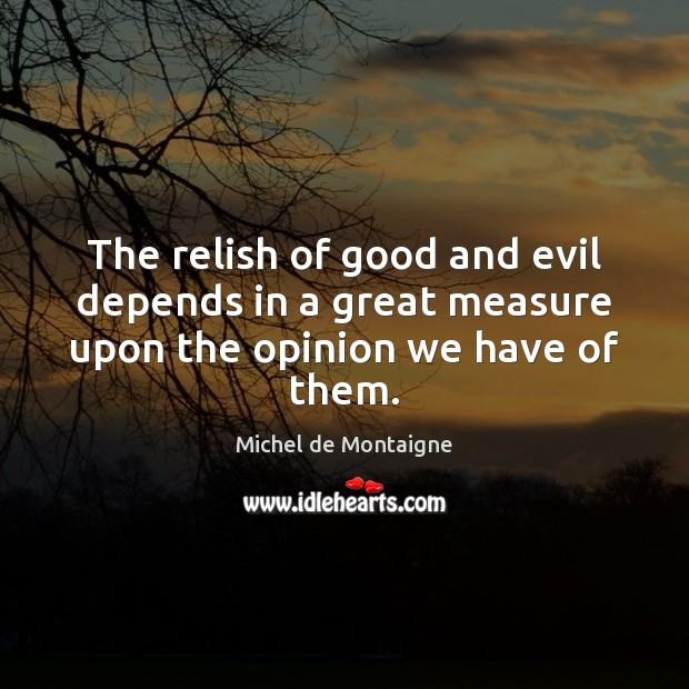 The relish of good and evil depends in a great measure upon the opinion we have of them. Michel de Montaigne Picture Quote