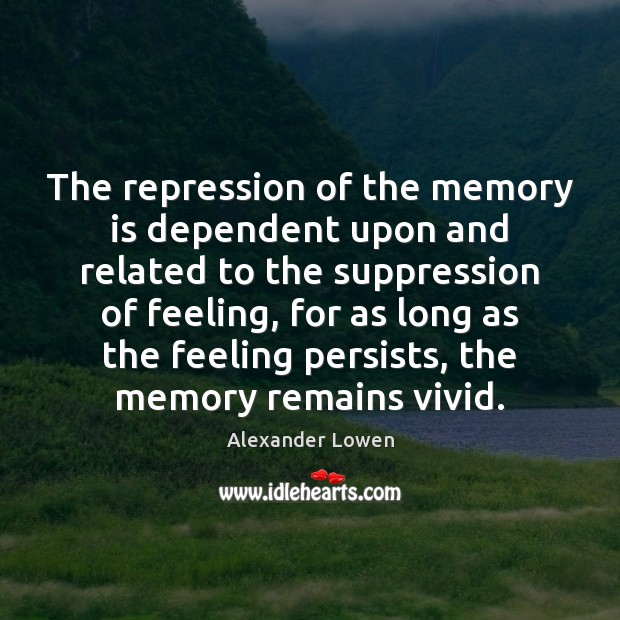 Image, The repression of the memory is dependent upon and related to the