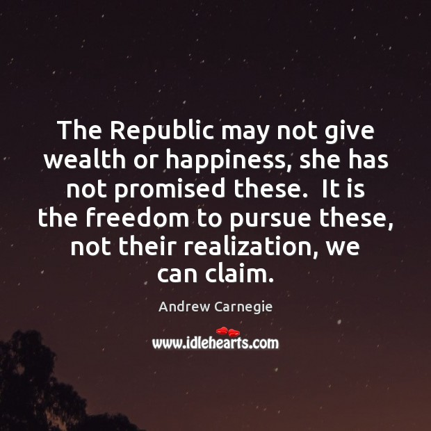 The Republic may not give wealth or happiness, she has not promised Andrew Carnegie Picture Quote
