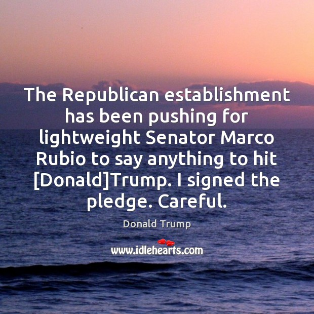 The Republican establishment has been pushing for lightweight Senator Marco Rubio to Donald Trump Picture Quote