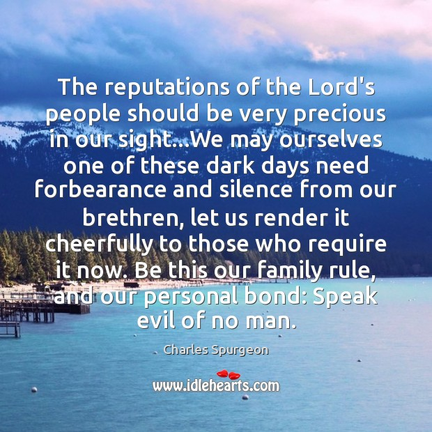 The reputations of the Lord's people should be very precious in our Image