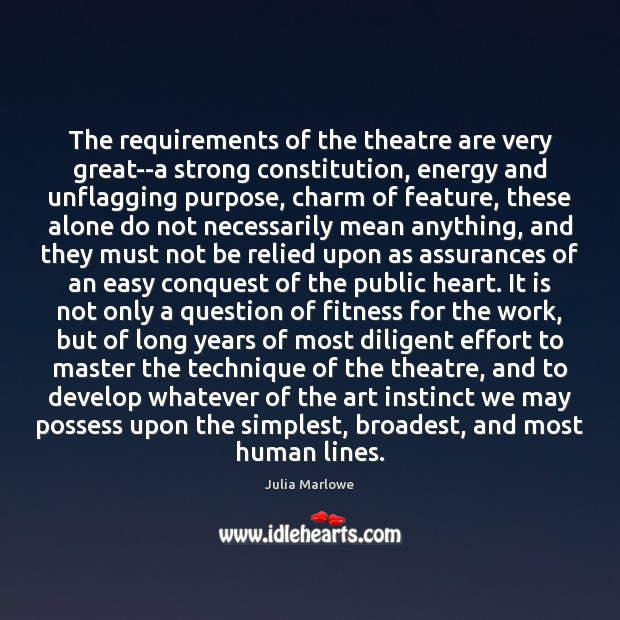 The requirements of the theatre are very great–a strong constitution, energy and Image
