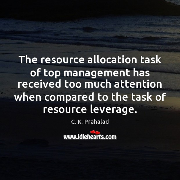 Image, The resource allocation task of top management has received too much attention
