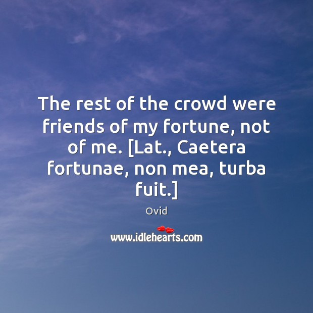 The rest of the crowd were friends of my fortune, not of Ovid Picture Quote