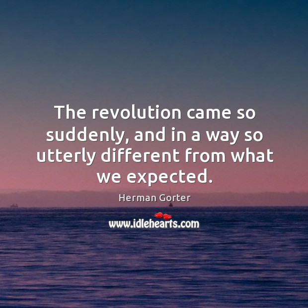 The revolution came so suddenly, and in a way so utterly different from what we expected. Herman Gorter Picture Quote