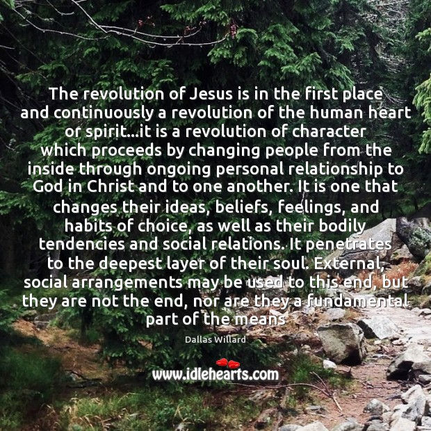 Image, The revolution of Jesus is in the first place and continuously a