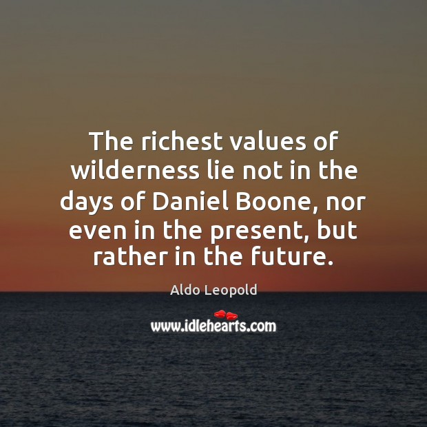 The richest values of wilderness lie not in the days of Daniel Image