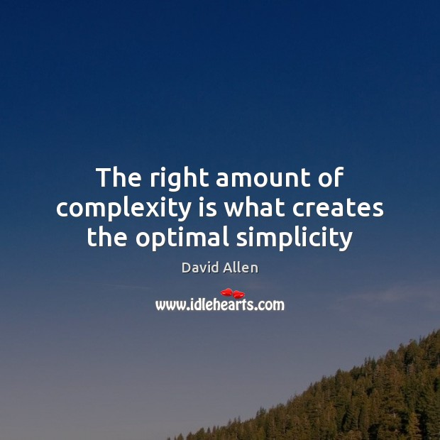 The right amount of complexity is what creates the optimal simplicity David Allen Picture Quote