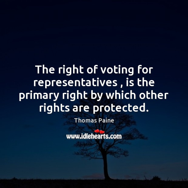 The right of voting for representatives , is the primary right by which Vote Quotes Image