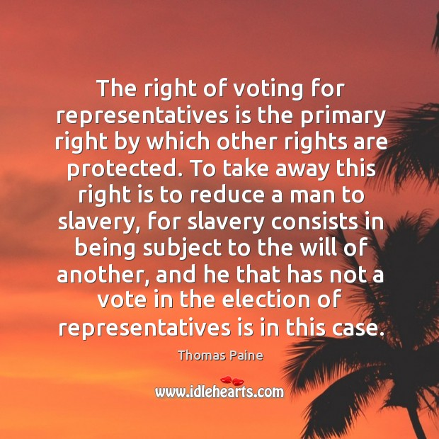 The right of voting for representatives is the primary right by which Image