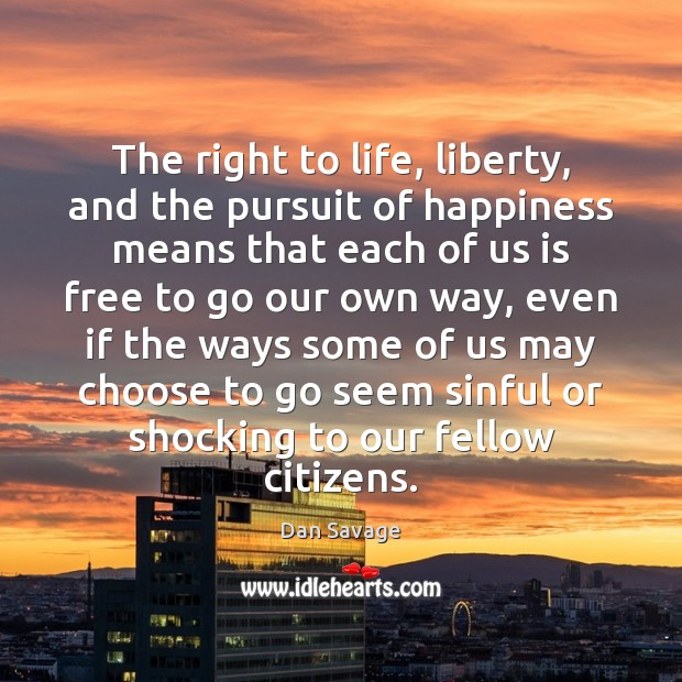 The right to life, liberty, and the pursuit of happiness means that Image