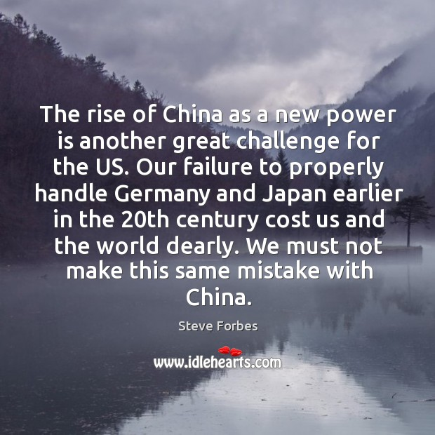 The rise of china as a new power is another great challenge for the us. Image