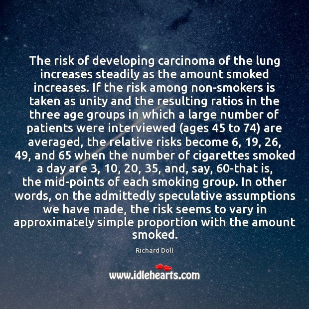 Image, The risk of developing carcinoma of the lung increases steadily as the