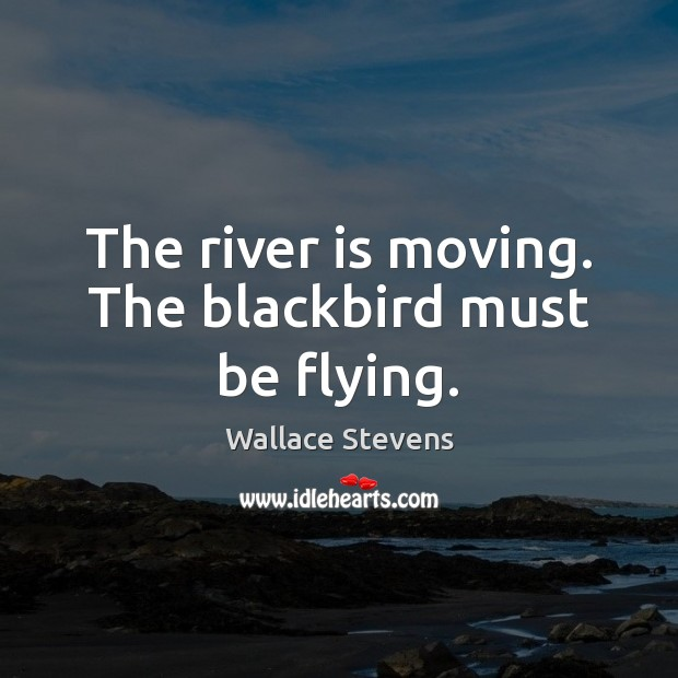 The river is moving. The blackbird must be flying. Image
