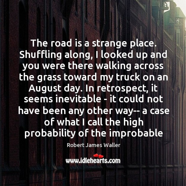 The road is a strange place. Shuffling along, I looked up and Robert James Waller Picture Quote