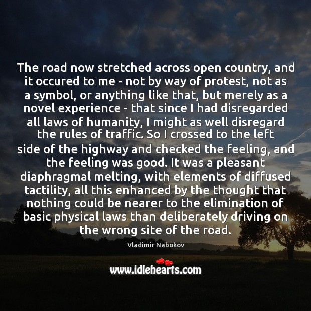 The road now stretched across open country, and it occured to me Image