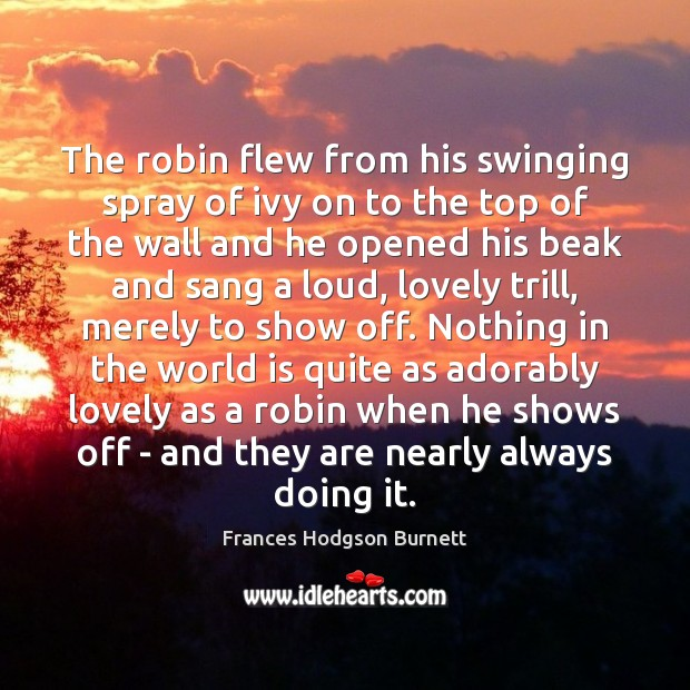 The robin flew from his swinging spray of ivy on to the Frances Hodgson Burnett Picture Quote