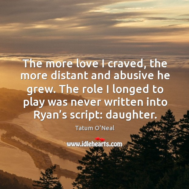 The role I longed to play was never written into ryan's script: daughter. Tatum O'Neal Picture Quote