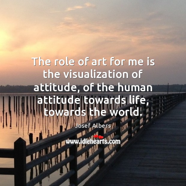 Image, The role of art for me is the visualization of attitude, of