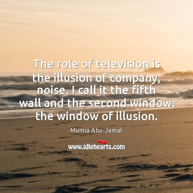 The role of television is the illusion of company, noise. I call Television Quotes Image