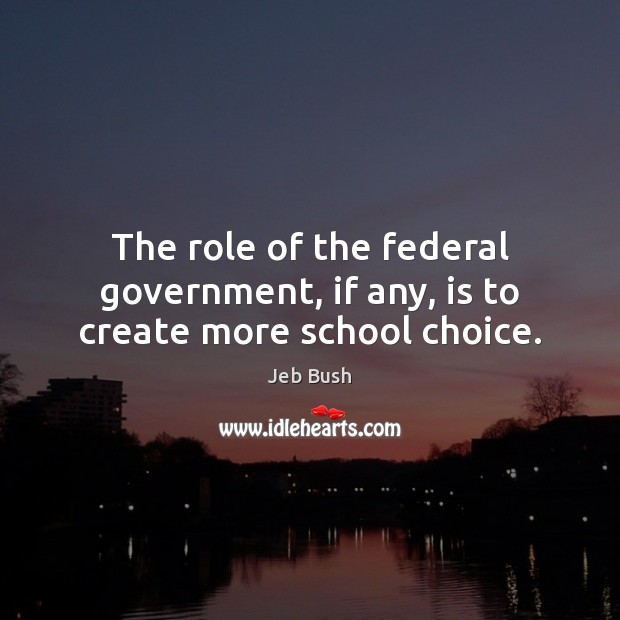 The role of the federal government, if any, is to create more school choice. Jeb Bush Picture Quote