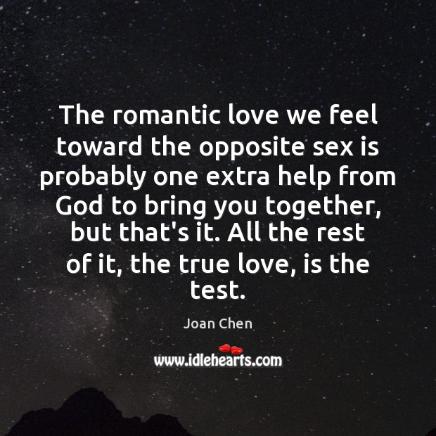 The romantic love we feel toward the opposite sex is probably one Romantic Love Quotes Image