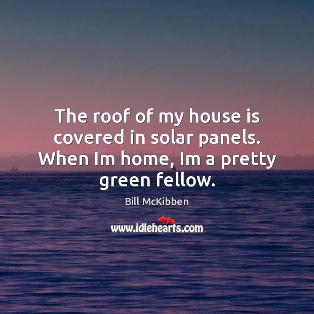 The roof of my house is covered in solar panels. When Im home, Im a pretty green fellow. Image