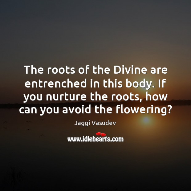 Jaggi Vasudev Picture Quote image saying: The roots of the Divine are entrenched in this body. If you