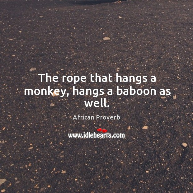 Image, The rope that hangs a monkey, hangs a baboon as well.