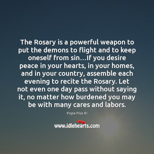 Image, The Rosary is a powerful weapon to put the demons to flight