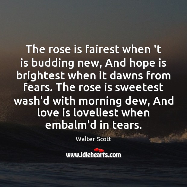 The rose is fairest when 't is budding new, And hope is Walter Scott Picture Quote
