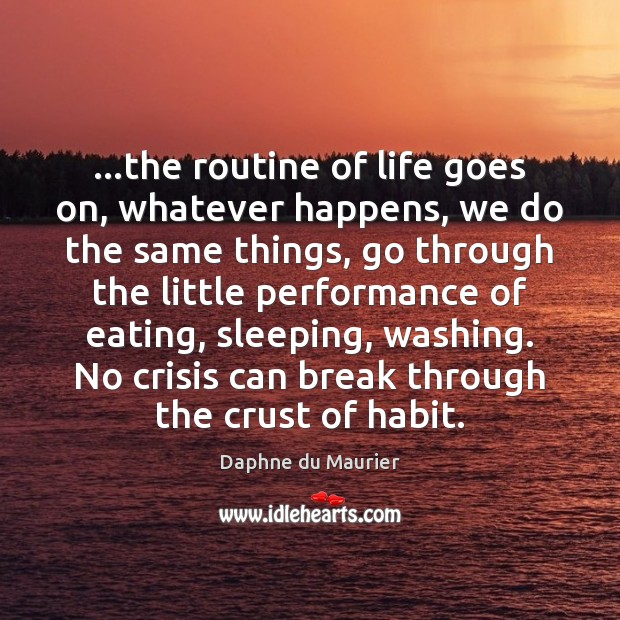…the routine of life goes on, whatever happens, we do the same Daphne du Maurier Picture Quote
