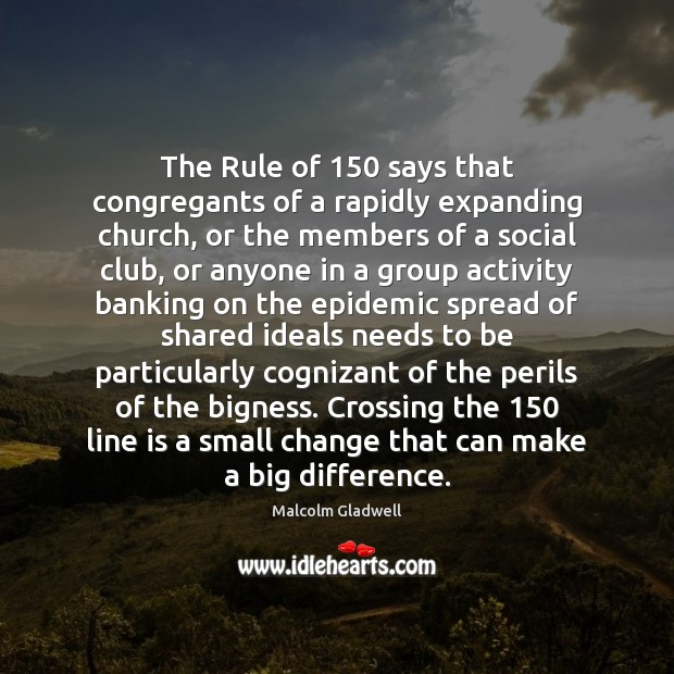 Image, The Rule of 150 says that congregants of a rapidly expanding church, or