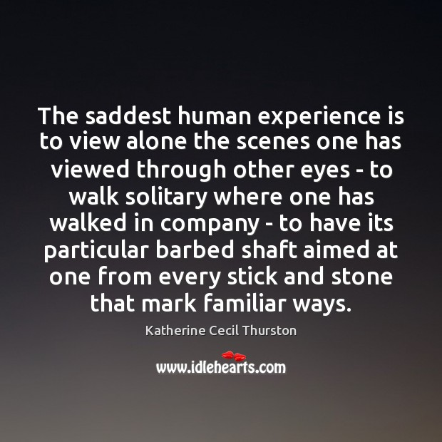 Image, The saddest human experience is to view alone the scenes one has