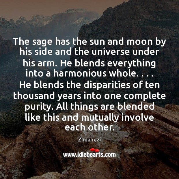 The sage has the sun and moon by his side and the Image