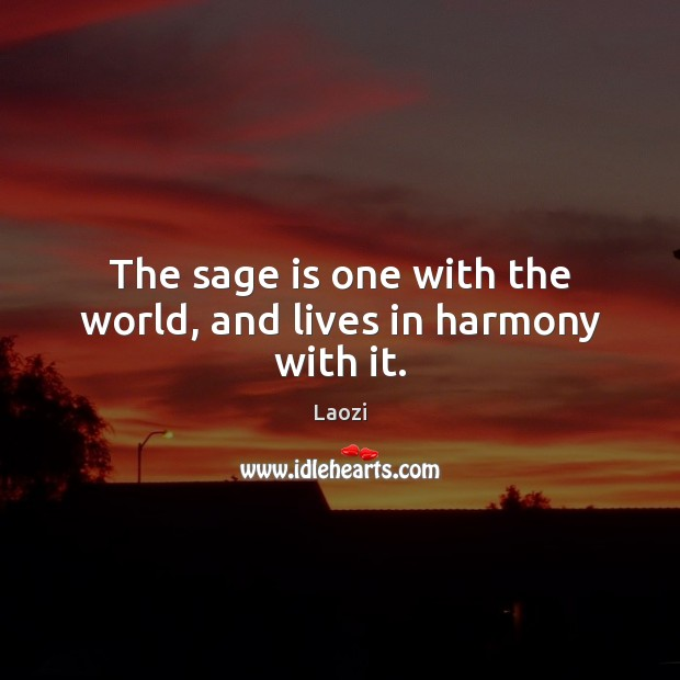 The sage is one with the world, and lives in harmony with it. Laozi Picture Quote