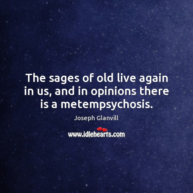 The sages of old live again in us, and in opinions there is a metempsychosis. Image