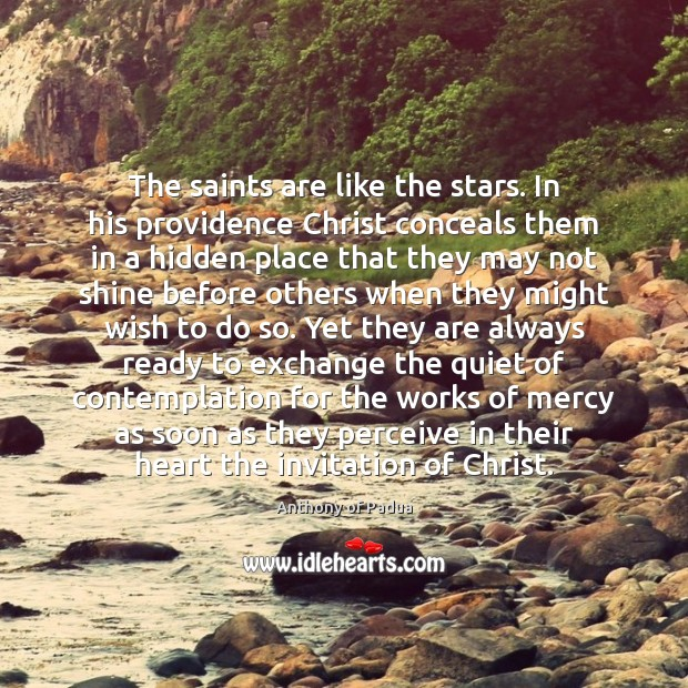 Image, The saints are like the stars. In his providence Christ conceals them
