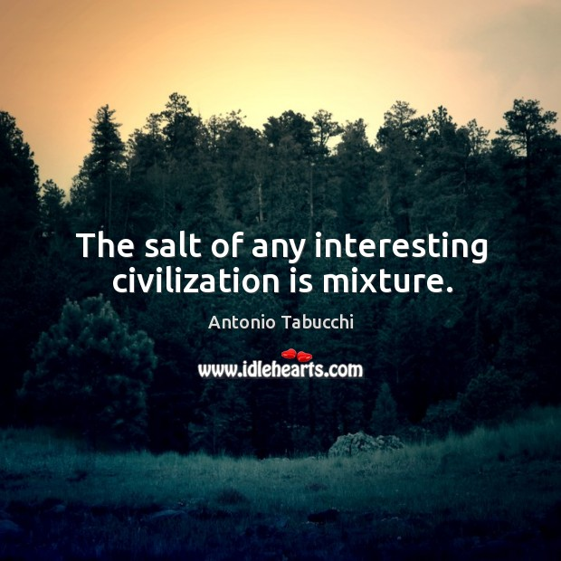The salt of any interesting civilization is mixture. Antonio Tabucchi Picture Quote