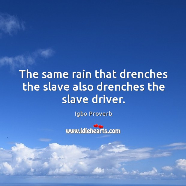 The same rain that drenches the slave also drenches the slave driver. Igbo Proverbs Image